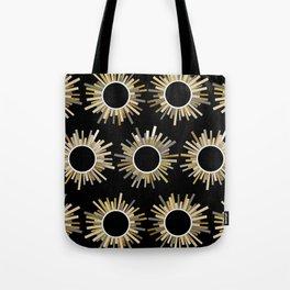 Art Deco Starburst in Black Tote Bag