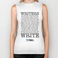 write Biker Tanks featuring WRITERS WRITE! by John Kovalic
