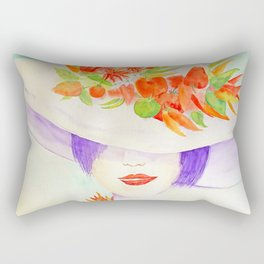 Watercolor Girl Portrait with Chili Hat Rectangular Pillow