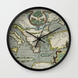 Vintage Map of The Mediterranean Sea (1608) Wall Clock