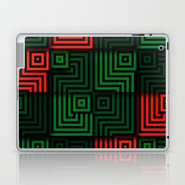 Red and green tiles with op art squares and corners Laptop & iPad Skin