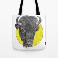 bison Tote Bags featuring Bison by Triple_S_Art