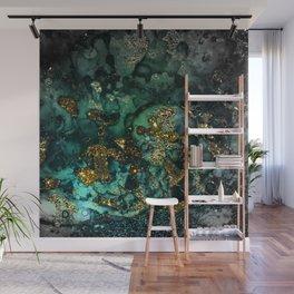 Gold Indigo Malachite Marble Wall Mural