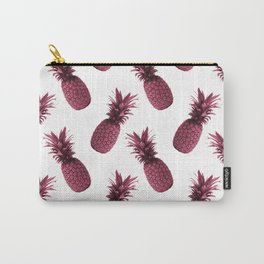 Pineapple Pattern - Tropical Pattern - Summer- Pineapple Wall Art - Purple, White - Minimal Carry-All Pouch