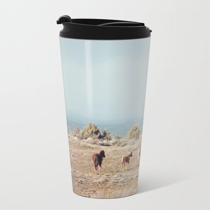 Oregon Wilderness Horses Metal Travel Mug