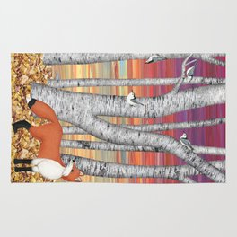 nuthatches and fox in the birch forest Rug