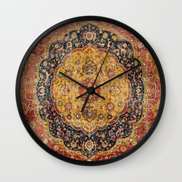 Indian Boho III // 16th Century Distressed Red Green Blue Flowery Colorful Ornate Rug Pattern Wall Clock