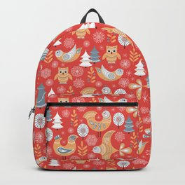 Fairy forest, deer, owls, foxes. Decorative pattern in Scandinavian style on a red background. Folk Backpack