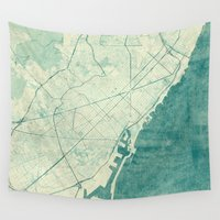 barcelona Wall Tapestries featuring Barcelona Map Blue Vintage by City Art Posters