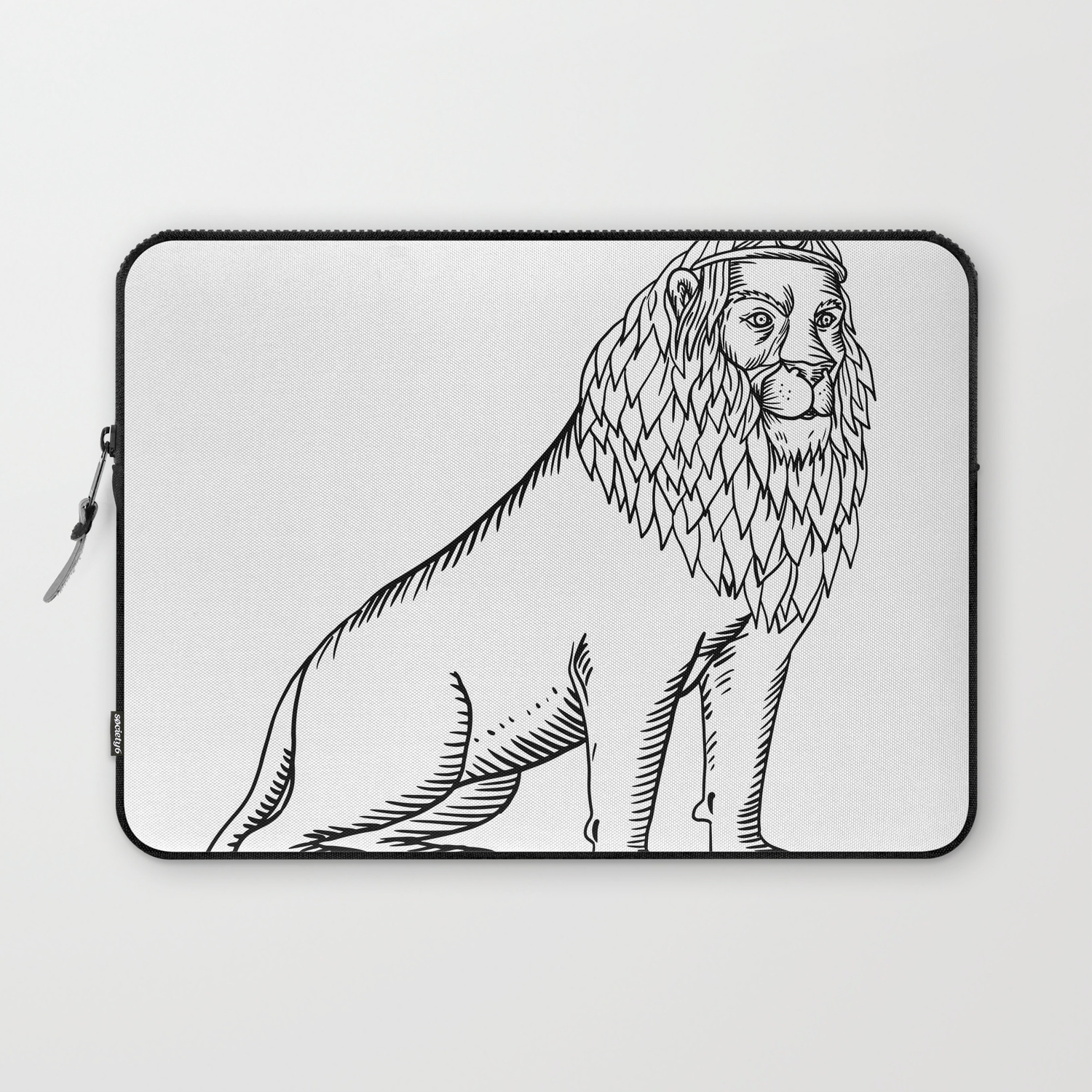 Etching Style Illustration Of A Blue Male Lion With Red Mane Wearing A Tiara Or Crown Sitting Down D Laptop Sleeve By Patrimonio Society6 10 years later japan is still a dependent. society6