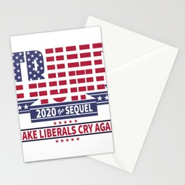 Trump 2020 the sequel, president art, american flag Stationery Cards