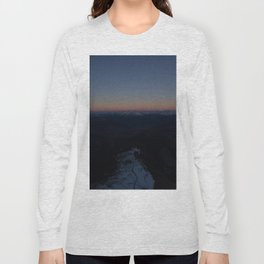 summit italy pass dolomites alps sunset snow boarder color Long Sleeve T-shirt