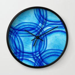 round shapes watercolor seamless ornament. Paints. Watercolor blue pattern. Wall Clock