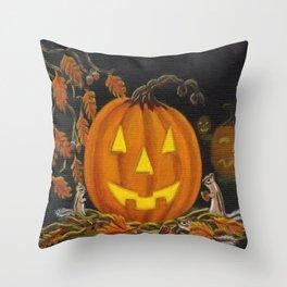 Autumn's Surprise Halloween art print Throw Pillow