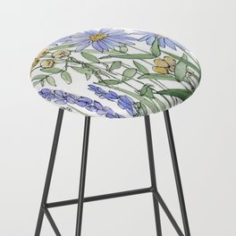 Asters and Wild Flowers Botanical Nature Floral Bar Stool