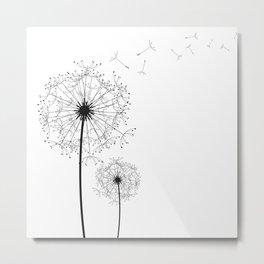 Black And White Dandelion Sketch Metal Print