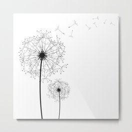 Black And White Dandelion Sketch Metal Print