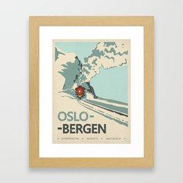 Oslo-Bergen train ride, Norway, Scandinavia, Travel poster Framed Art Print