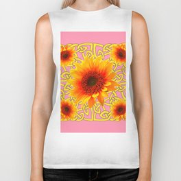 Decorator Golden Sunflower Floral Celtic art Biker Tank