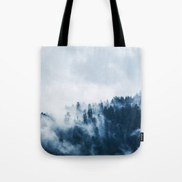 CLOUDS - WHITE - FOG - TREES - FOREST - LANDSCAPE - NATURE - TIMBER - WOODS - PHOTOGRAPHY Tote Bag