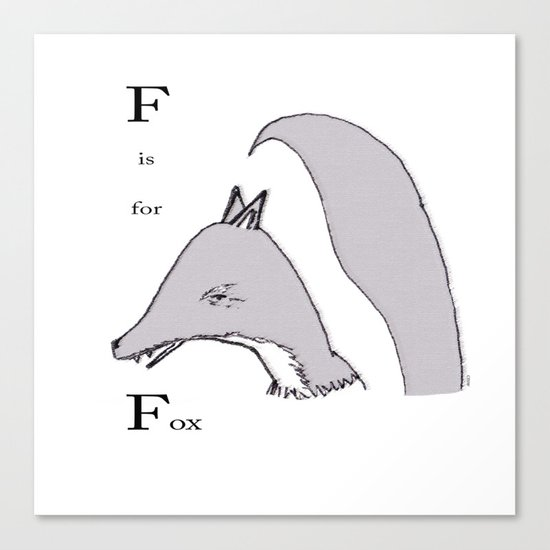 'F' Is For Fox Canvas Print