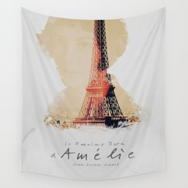 Amelie, minimalist movie poster, french film playbill, the fabulous life of Amélie Poulain, Wall Tapestry