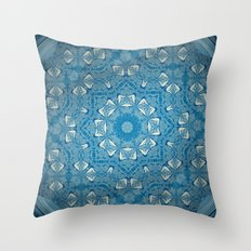 Wisdom is a Butterfly -- Bohemian Mandala in Vintage Ivory on Blue Duotone Throw Pillow