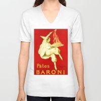pasta V-neck T-shirts featuring Pasta Baroni Leonetto Cappiello by aapshop