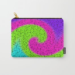 Tile Twirl Digital Illustration - Lime Green Wave Swirl - Graphic Design Carry-All Pouch
