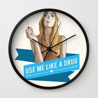 cunt Wall Clocks featuring Use Me Like a Drug by keith p. rein