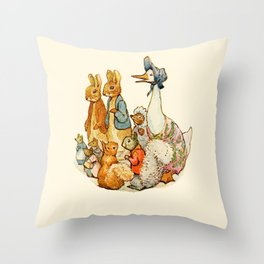 Bedtime Story Animals Throw Pillow