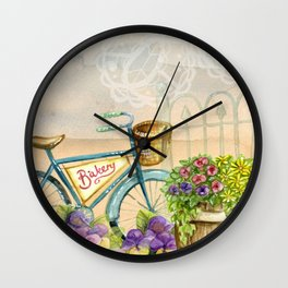 Old bike and flowers watercolor painting Wall Clock