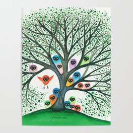Teton Owls in Tree Poster