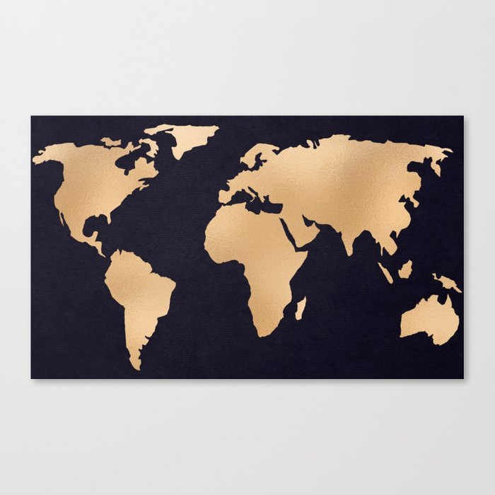 World Map Metallic Copper On Navy Blue Canvas Print By Mapmaker