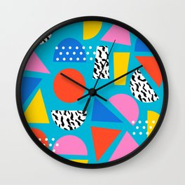 Airhead - memphis retro throwback minimal geometric colorful pattern 80s style 1980's Wall Clock