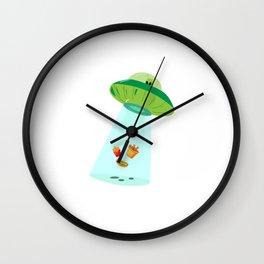 Alien Fastfood Ufo Alien Spaceship Space Wall Clock