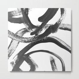 Interlock black and white paint swirls Metal Print