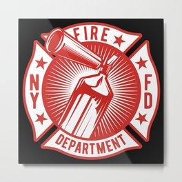 Fire Fighter - Fire Extinguisher - dark Metal Print