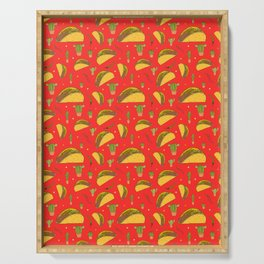 Tasty Tacos Chillies and Cactus Mexican Food Pattern on Red Serving Tray
