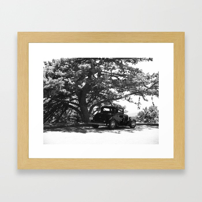 Antique Car on the Parkway (BW) Framed Art Print