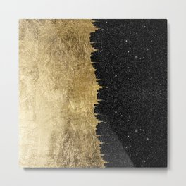 Faux Gold and Black Starry Night Brushstrokes Metal Print