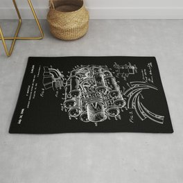 Jet Engine: Frank Whittle Turbojet Engine Patent - White on Black Rug