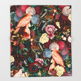 Floral and Animals pattern II Throw Blanket