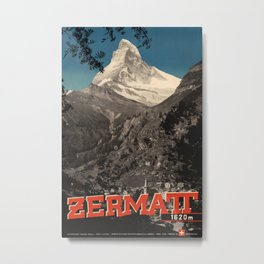 Zermatt Vintage Travel Poster Metal Print