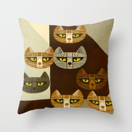 Cat Pattern Japanese, Cat, Cubism, Woodblock Print, Cherry Blossom, Midcentury, Modern Throw Pillow