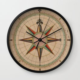 Vintage Compass Rose Diagram (1664) Wall Clock
