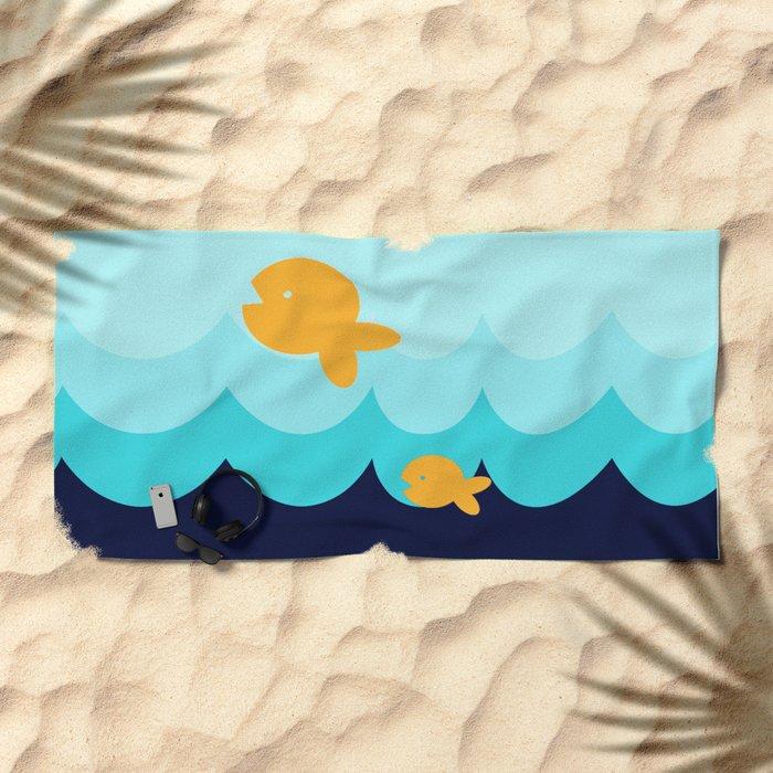 Beach Series Aqua- Gold Fish Animals in the deep See Beach Towel