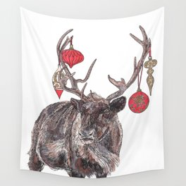 Reindeer with Baubles Wall Tapestry