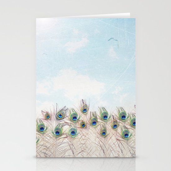 Fly Over A Peacock Field Stationery Cards