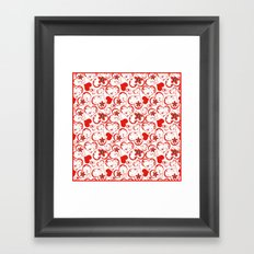 Abstract pattern with red hearts and flowers on a white background. Framed Art Print